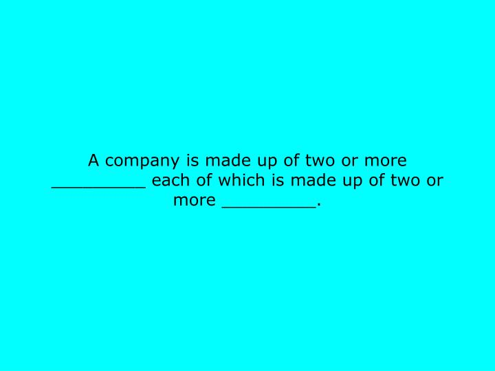 A company is made up of two or more _________ each of which is made up of two or more _________.