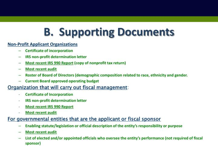B.  Supporting Documents
