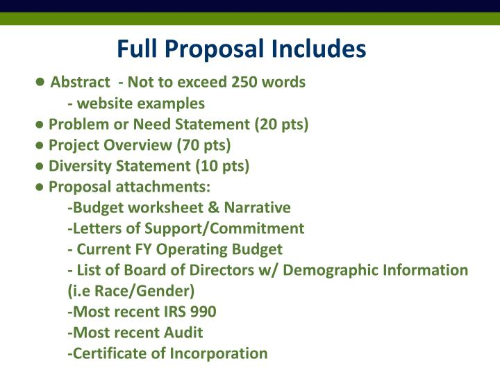 Full Proposal Includes