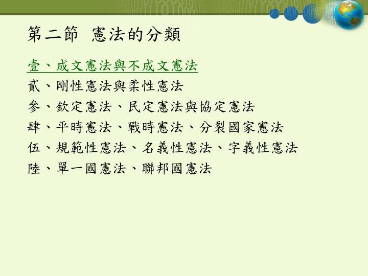 第二節  憲法的分類