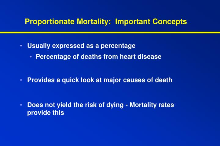 Proportionate Mortality:  Important Concepts