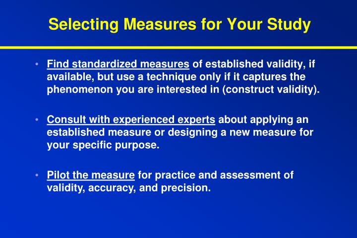 Selecting Measures for Your Study