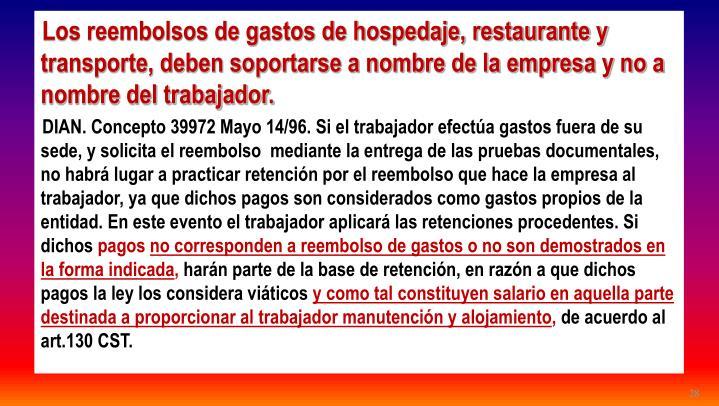 Los reembolsos de gastos de hospedaje, restaurante y transporte, deben soportarse a nombre de la empresa y no a nombre del trabajador.