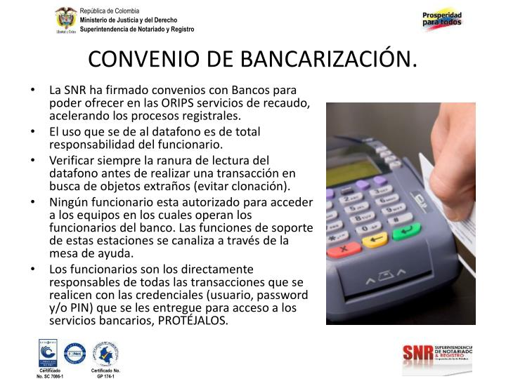 CONVENIO DE BANCARIZACIÓN.
