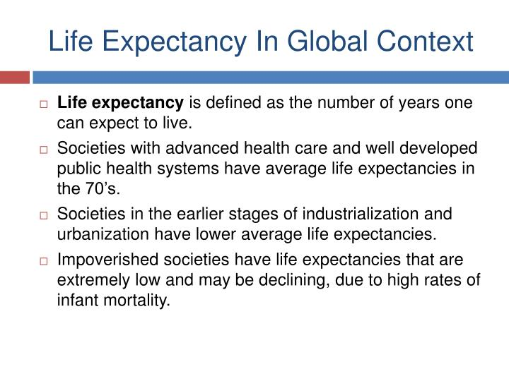 Life Expectancy In Global Context