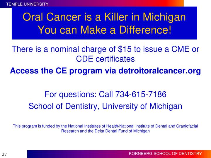 Oral Cancer is a Killer in Michigan