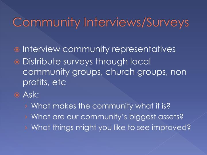 Community Interviews/Surveys