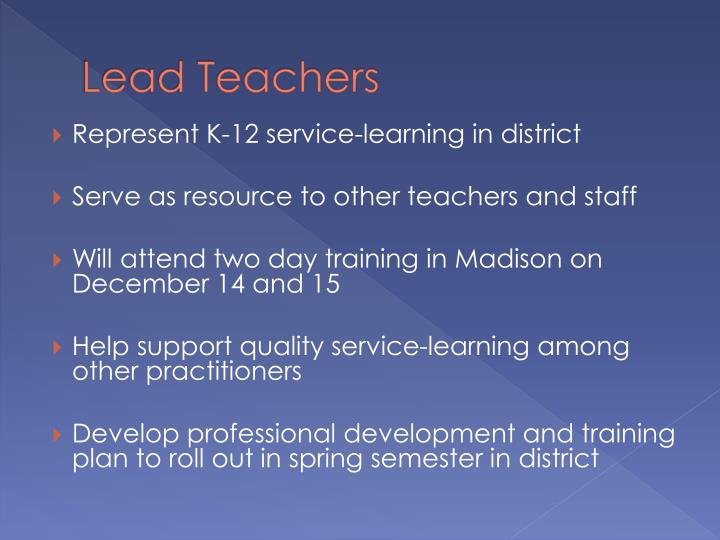 Lead teachers