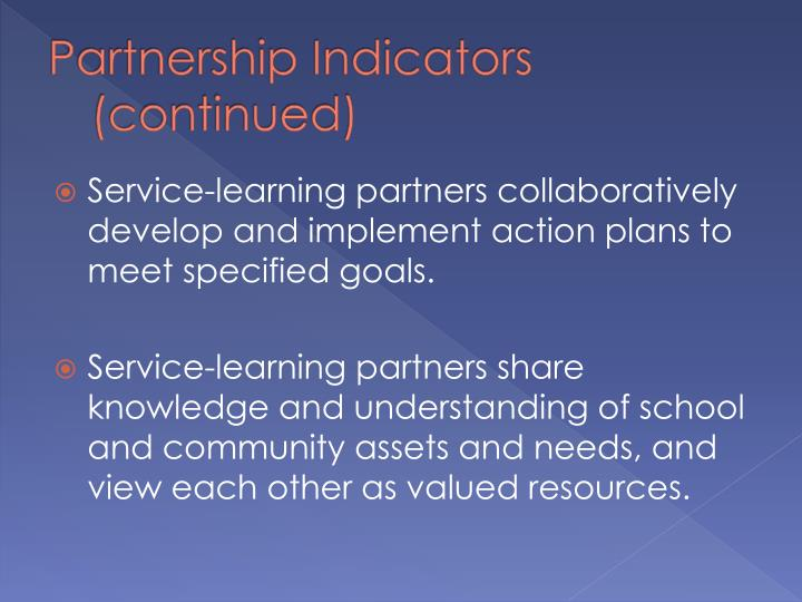 Partnership Indicators (continued)