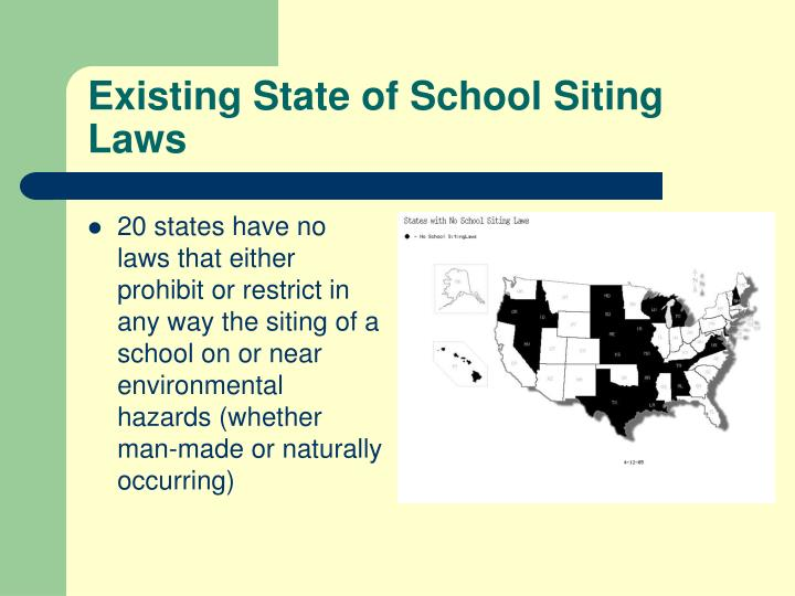 Existing State of School Siting Laws