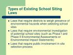types of existing school siting laws1