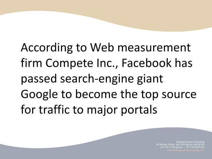 According to Web measurement firm Compete Inc., Facebook has passed search-engine giant Google to become the top source for traffic to major portals