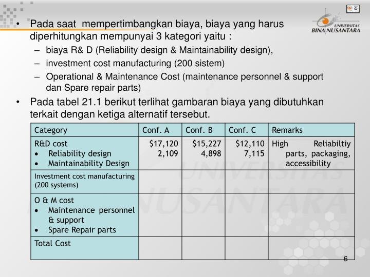 Pada saat  mempertimbangkan biaya, biaya yang harus diperhitungkan mempunyai 3 kategori yaitu :