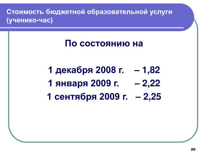 Стоимость бюджетной образовательной услуги (ученико-час)