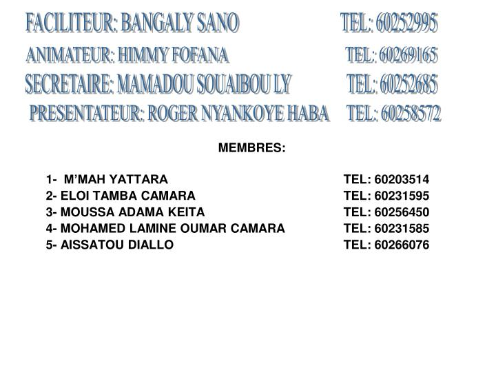 FACILITEUR: BANGALY SANO                           TEL: 60252995