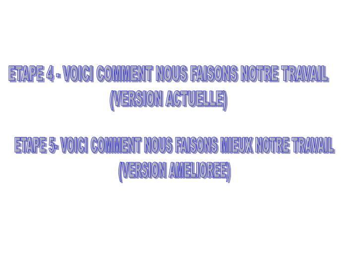 ETAPE 4 - VOICI COMMENT NOUS FAISONS NOTRE TRAVAIL