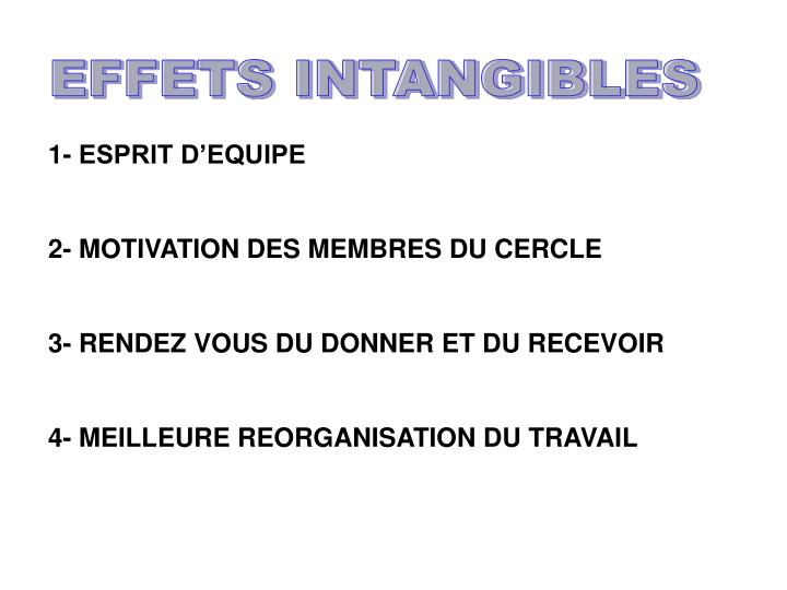 EFFETS INTANGIBLES
