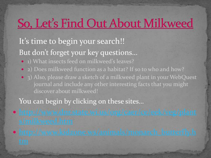 So, Let's Find Out About Milkweed