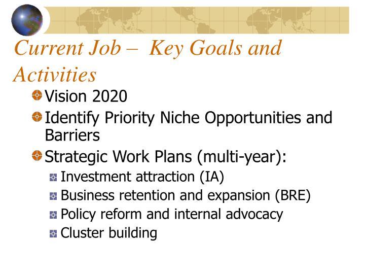 Current Job –  Key Goals and Activities