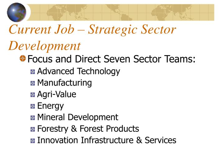 Current Job – Strategic Sector Development