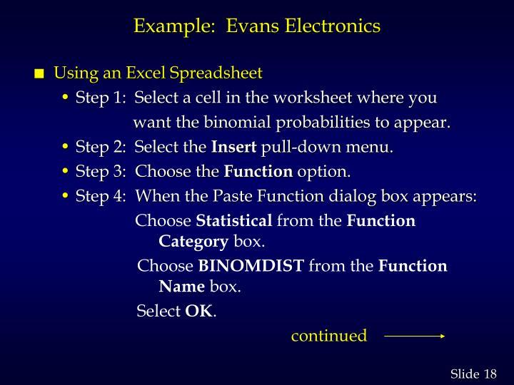 Example:  Evans Electronics