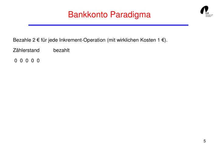 Bankkonto Paradigma