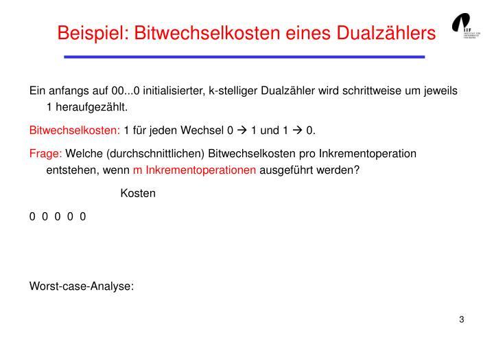 Beispiel: Bitwechselkosten eines Dualzählers