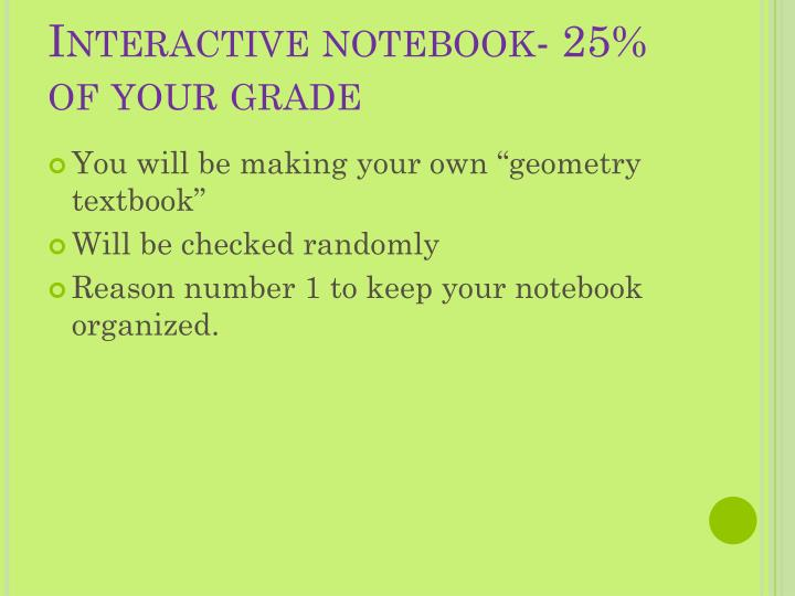 Interactive notebook- 25% of your grade
