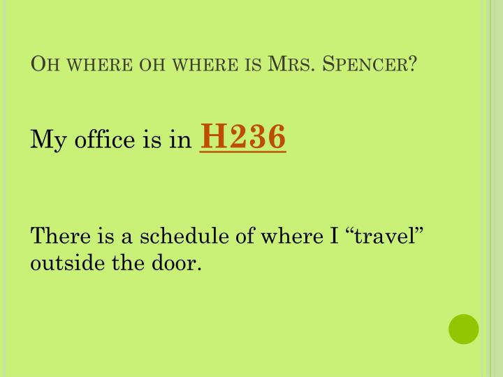 Oh where oh where is Mrs. Spencer?