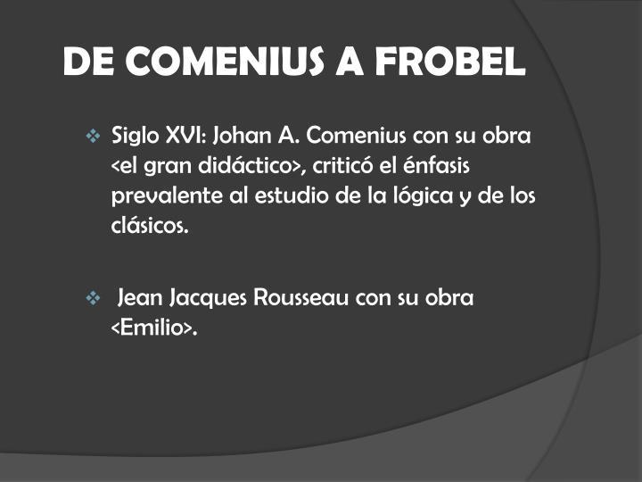 DE COMENIUS A FROBEL