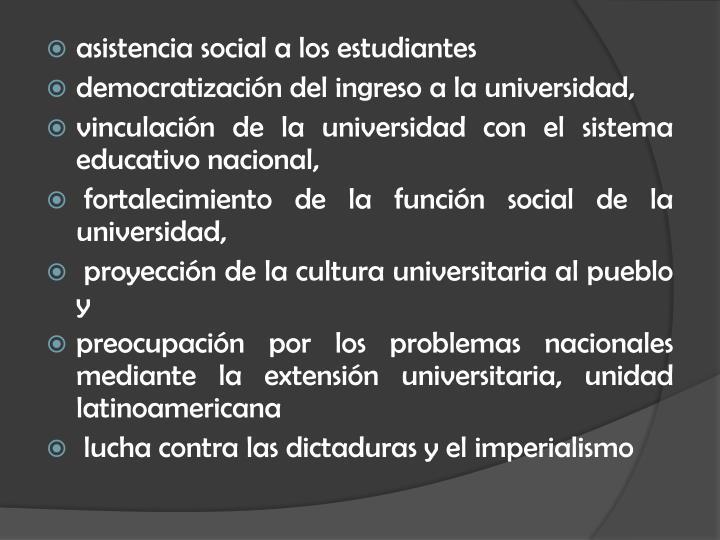 asistencia social a los estudiantes