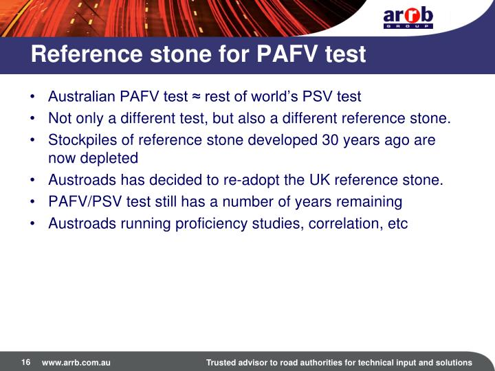 Reference stone for PAFV test