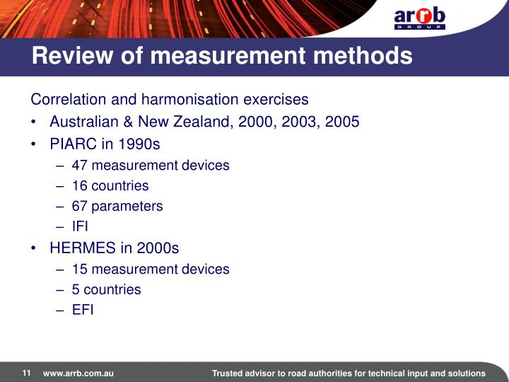 Review of measurement methods