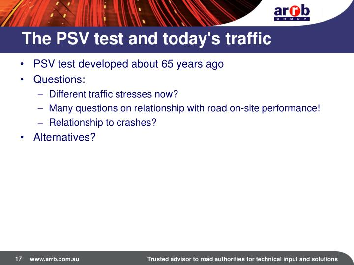 The PSV test and today's traffic