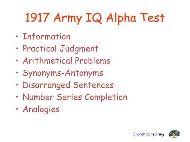 1917 Army IQ Alpha Test