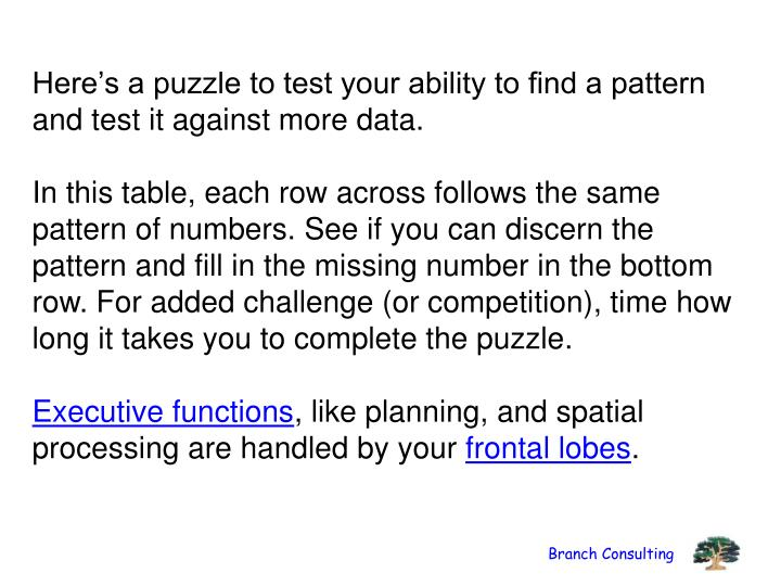 Here's a puzzle to test your ability to find a pattern and test it against more data.