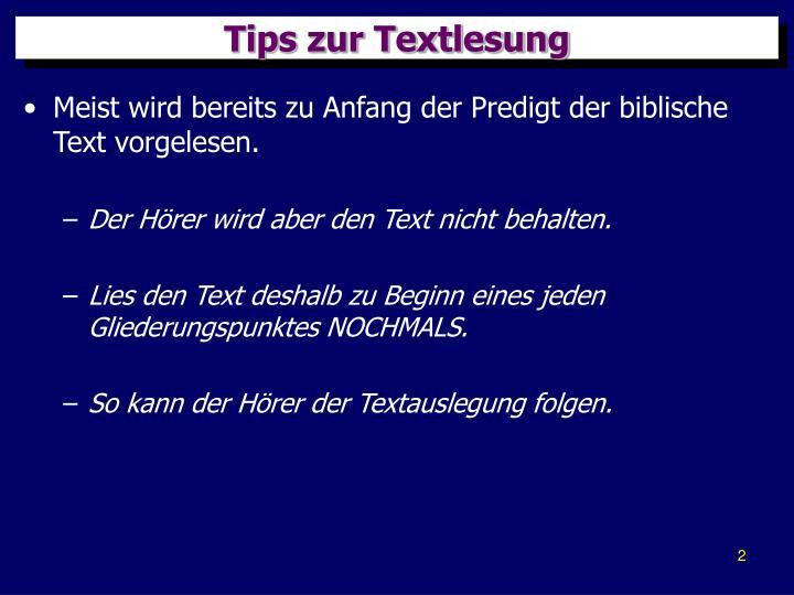 Tips zur Textlesung