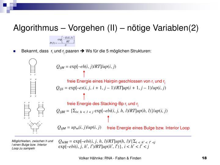 Algorithmus – Vorgehen (II) – nötige Variablen(2)