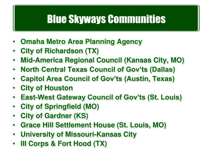 Blue Skyways Communities