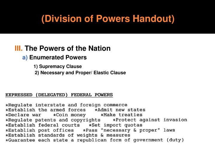 (Division of Powers Handout)