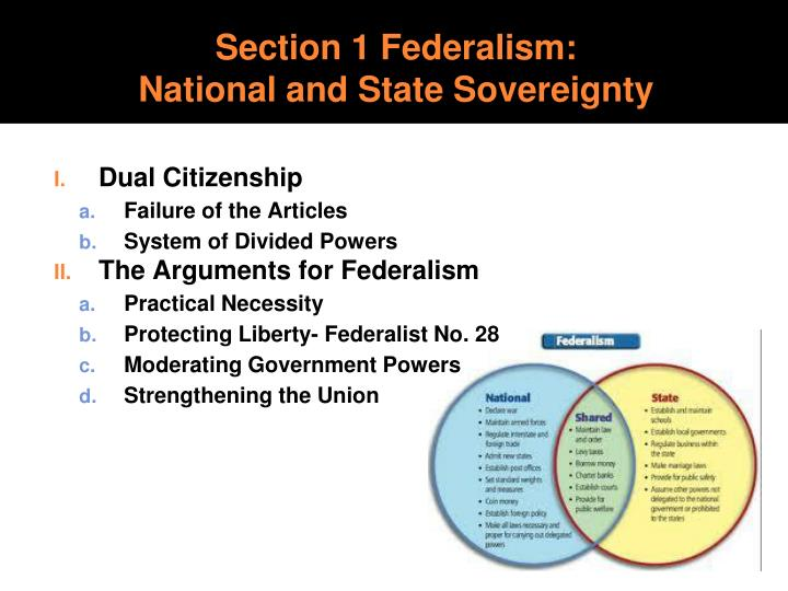 Section 1 federalism national and state sovereignty