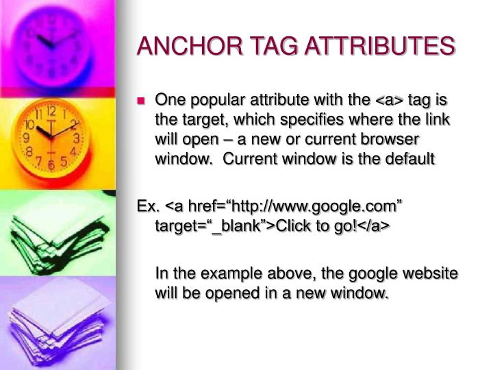 ANCHOR TAG ATTRIBUTES