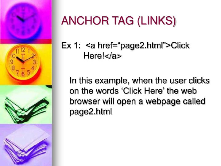 ANCHOR TAG (LINKS)