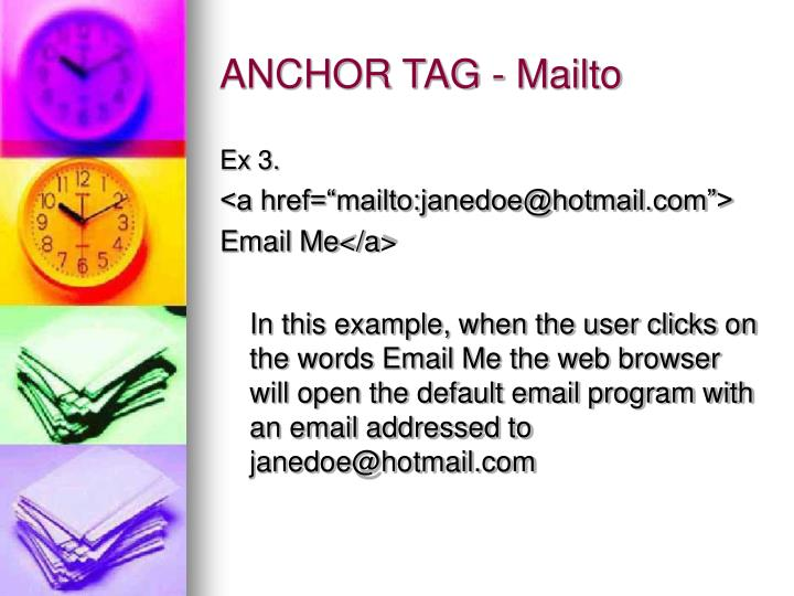 ANCHOR TAG - Mailto