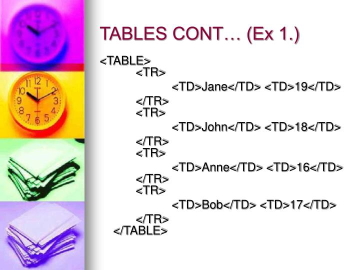 TABLES CONT… (Ex 1.)