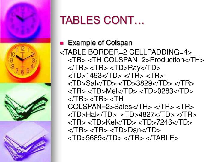 TABLES CONT…