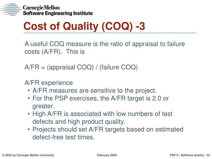 Cost of Quality (COQ) -3