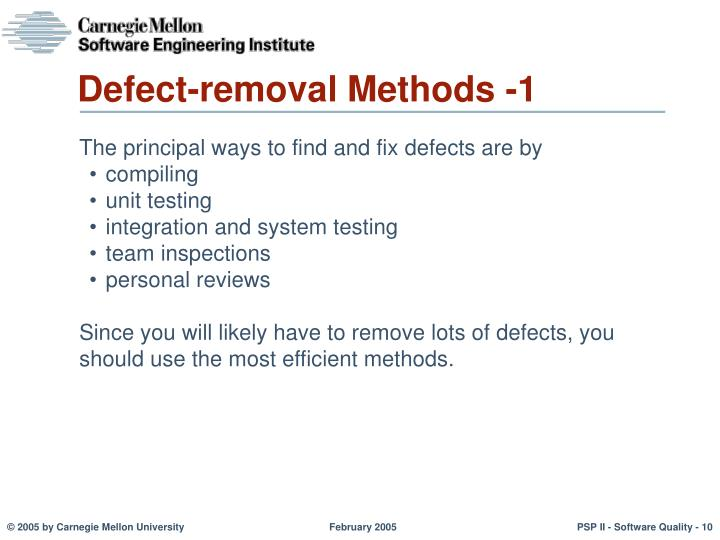 Defect-removal Methods -1