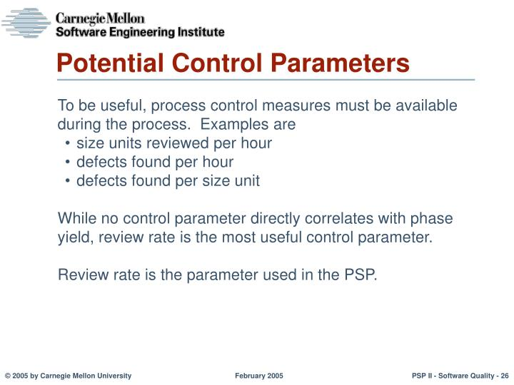 Potential Control Parameters