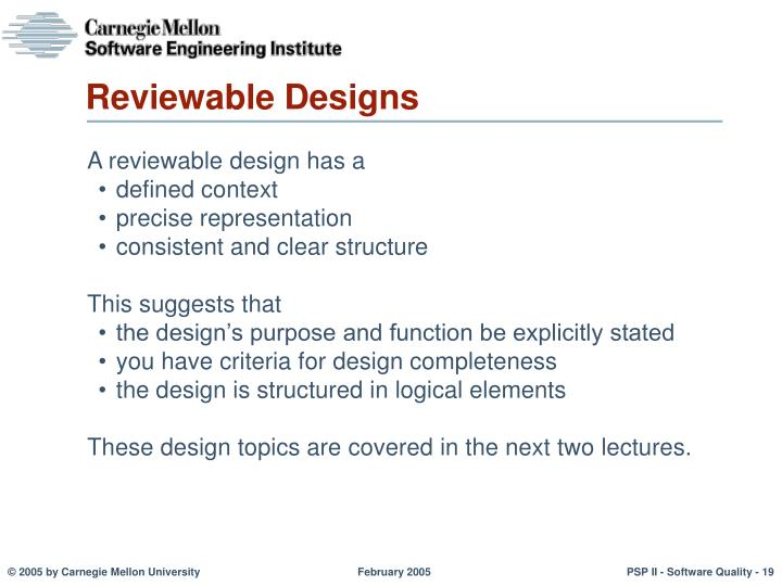 Reviewable Designs